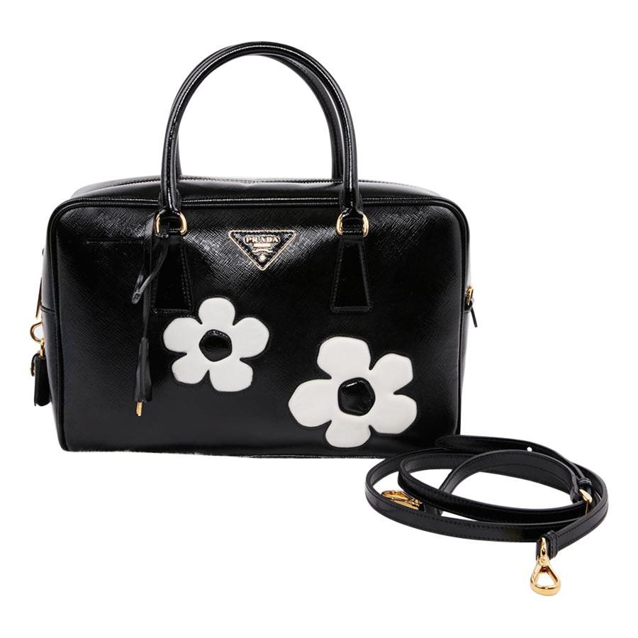 PRADA Baulleto Bag In Black Patent Saffiano Leather