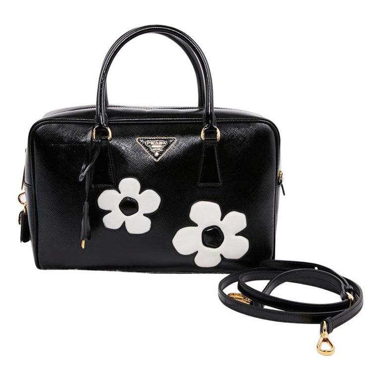 PRADA Baulleto Bag In Black Patent Saffiano Leather For Sale