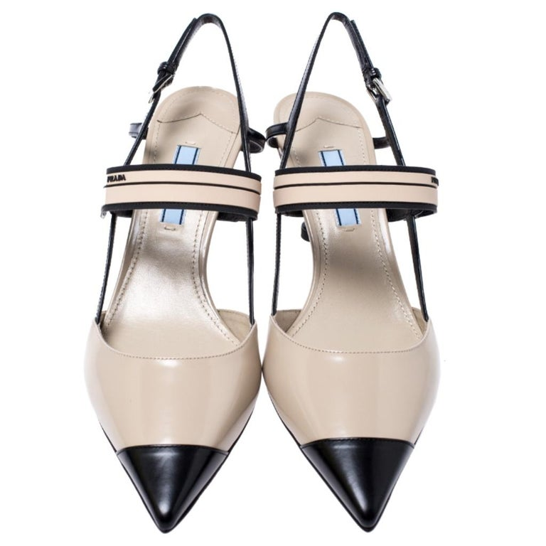 Designed in a slingback style, these sandals from the house of Prada can practically be styled with all your ensembles. They come with pointed toes and slingbacks that beautifully hugs the feet of the wearer. They are set on a comfortable kitten