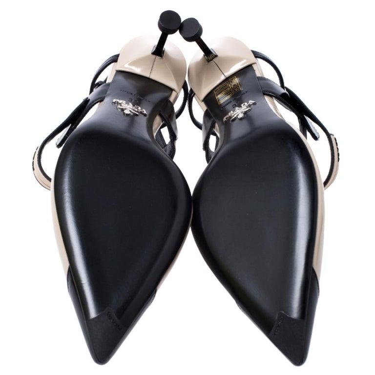 Women's Prada Beige/Black Leather Slingback 65 Kitten Heel Pumps Size 37
