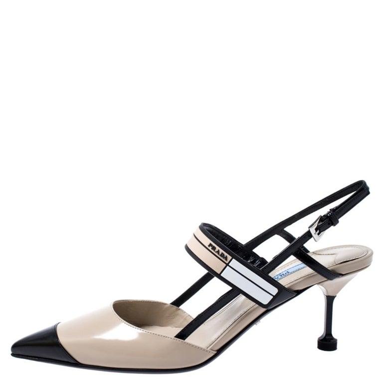 Prada Beige/Black Leather Slingback 65 Kitten Heel Pumps Size 37 1