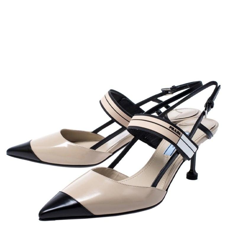 Prada Beige/Black Leather Slingback 65 Kitten Heel Pumps Size 37 2