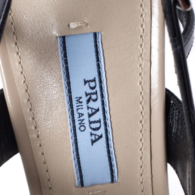 Prada Beige/Black Leather Slingback 65 Kitten Heel Pumps Size 37 3
