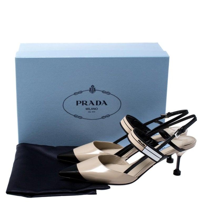 Prada Beige/Black Leather Slingback 65 Kitten Heel Pumps Size 37 4
