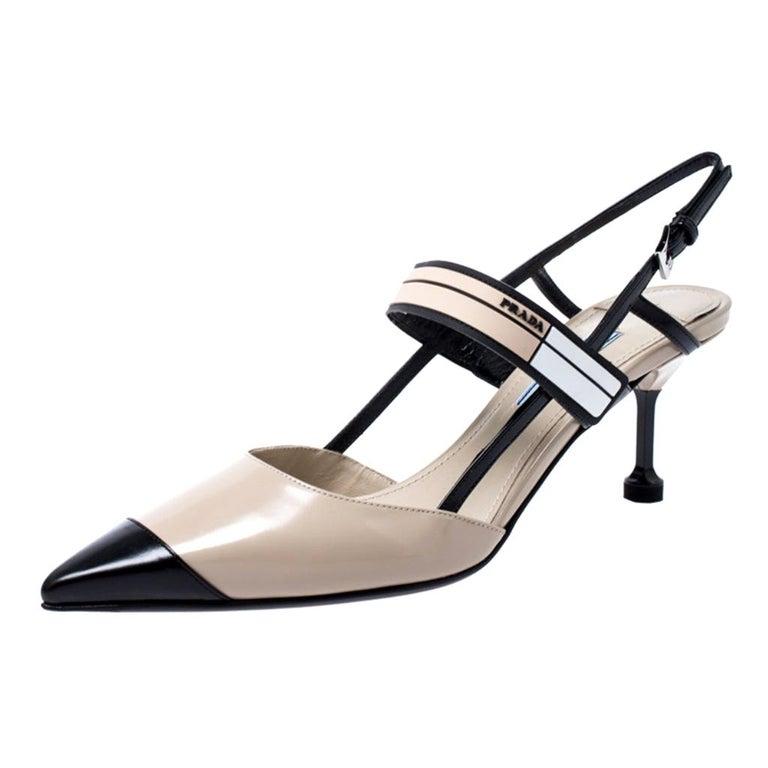 Prada Beige/Black Leather Slingback 65 Kitten Heel Pumps Size 37