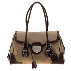 Prada Beige/Brown Canvas and Leather Push Lock Satchel