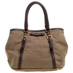 Prada Beige/Brown Jacquard Logo Canvas and Leather Bow Shoulder Bag