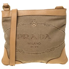 Prada Beige/Brown Logo Jacquard Fabric and Canvas Crossbody Bag