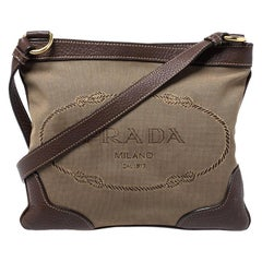 Prada Beige/Brown Logo Jacquard Fabric and Leather Crossbody Bag