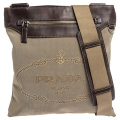 Prada Beige/Brown Logo Jacquard Fabric and Leather Messenger Bag