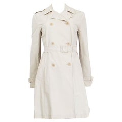 PRADA beige cotton blend DOUBLE BREASTED TRENCH Coat Jacket 38 XS