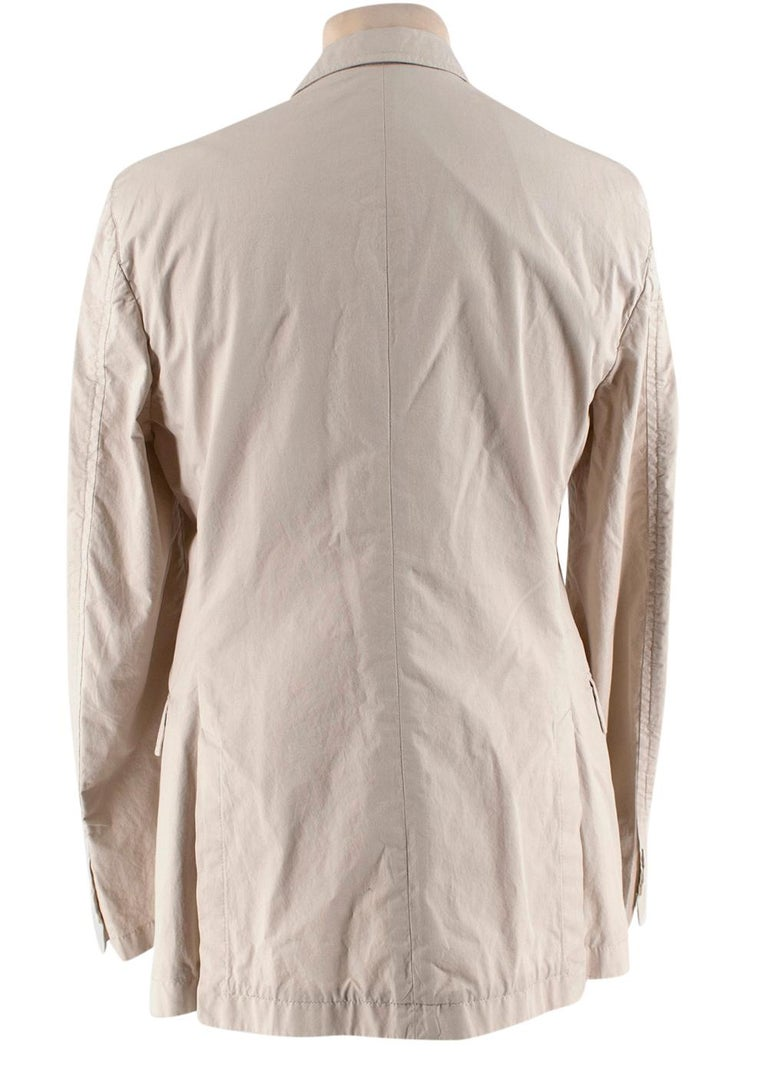 Prada Beige Cotton Single Breasted Blazer Jacket - Size L IT50  In Excellent Condition For Sale In London, GB