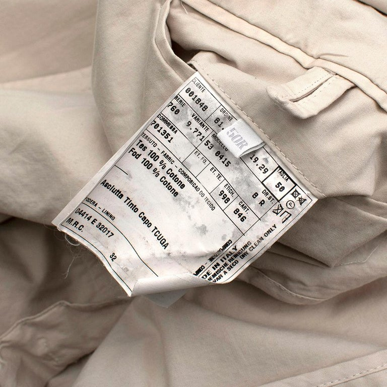 Prada Beige Cotton Single Breasted Blazer Jacket - Size L IT50  For Sale 1