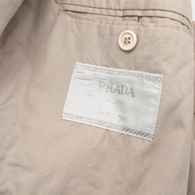 Prada Beige Cotton Single Breasted Blazer Jacket - Size L IT50  For Sale 2