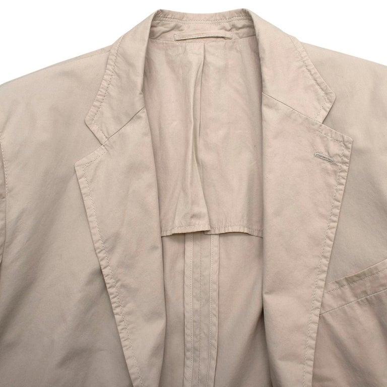 Prada Beige Cotton Single Breasted Blazer Jacket - Size L IT50  For Sale 5