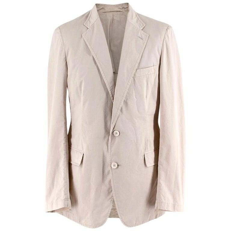 Prada Beige Cotton Single Breasted Blazer Jacket - Size L IT50  For Sale