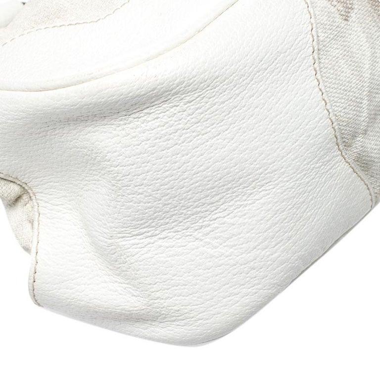 Prada Beige/Cream Canvas and Leather Kiss Lock Satchel For Sale 6