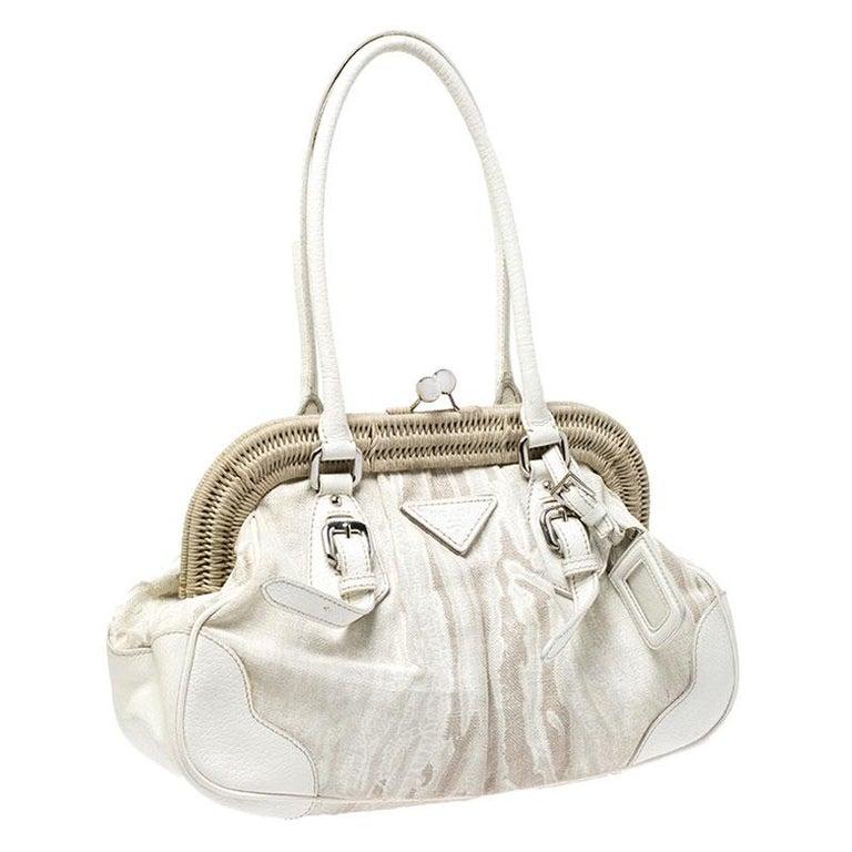 Women's Prada Beige/Cream Canvas and Leather Kiss Lock Satchel For Sale