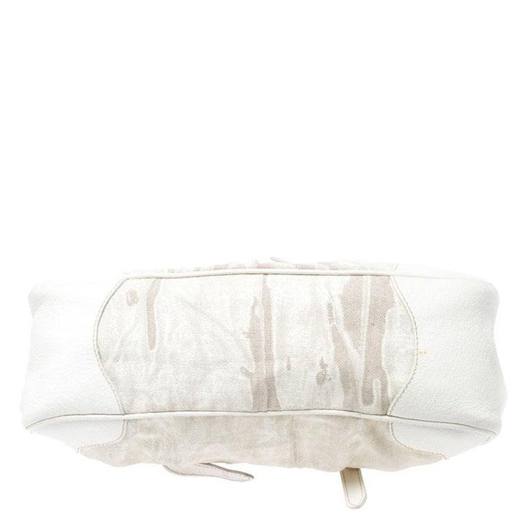 Prada Beige/Cream Canvas and Leather Kiss Lock Satchel For Sale 1