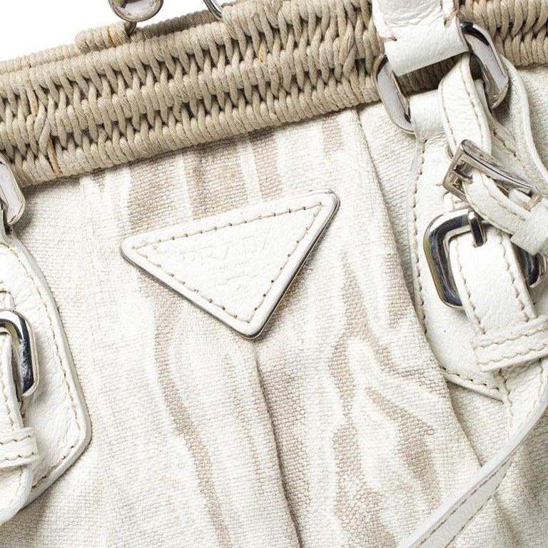 Prada Beige/Cream Canvas and Leather Kiss Lock Satchel For Sale 2