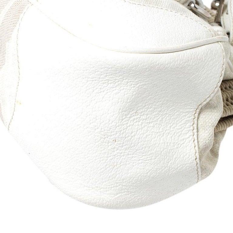 Prada Beige/Cream Canvas and Leather Kiss Lock Satchel For Sale 3
