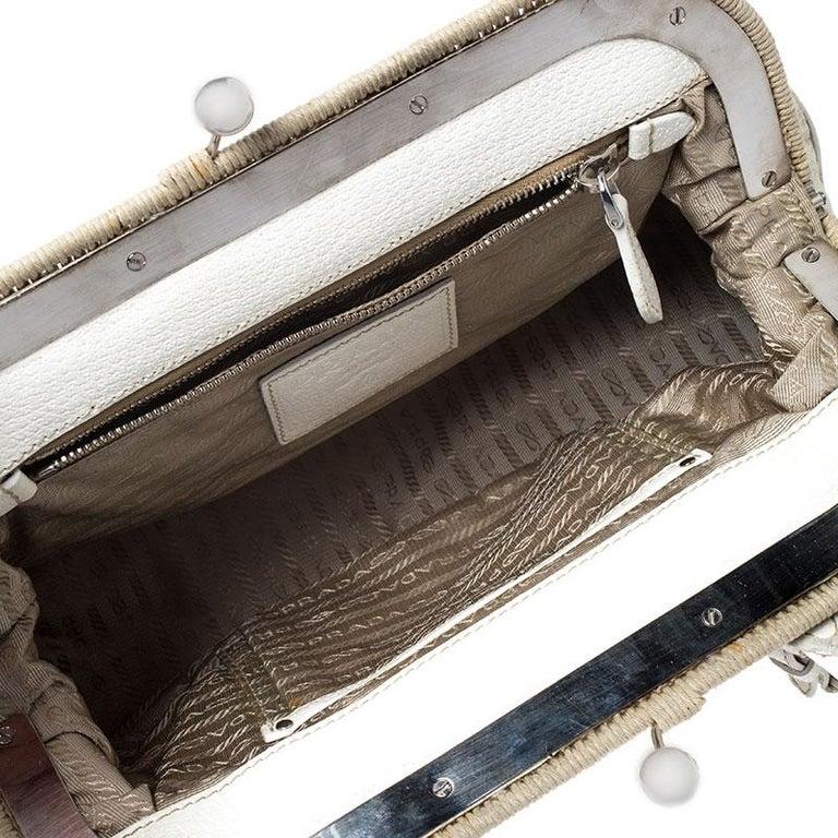 Prada Beige/Cream Canvas and Leather Kiss Lock Satchel For Sale 4