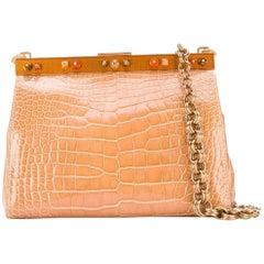 Prada Beige Crocodile Leather Clutch, 2000s