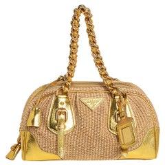 Prada Beige/Gold Leather and Straw Dome Satchel