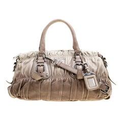Prada Beige/Grey Ombre Nappa Gaufre Leather Top Handle Bag