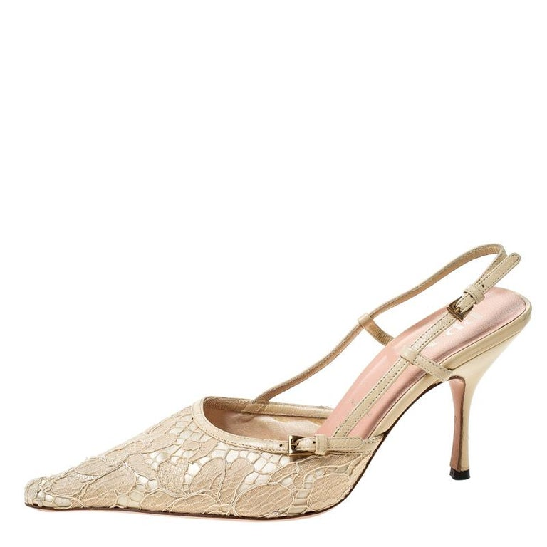 Prada Beige Lace/Satin Slingback Pointed Toe Sandals Size 36.5 For Sale 1
