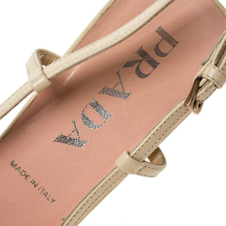 Prada Beige Lace/Satin Slingback Pointed Toe Sandals Size 36.5 For Sale 2