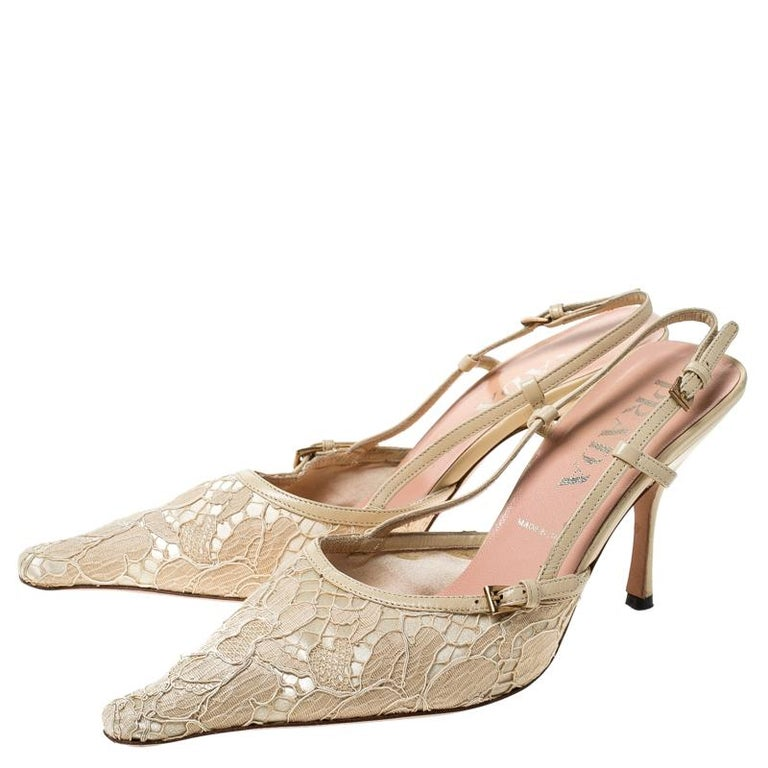 Prada Beige Lace/Satin Slingback Pointed Toe Sandals Size 36.5 For Sale 3