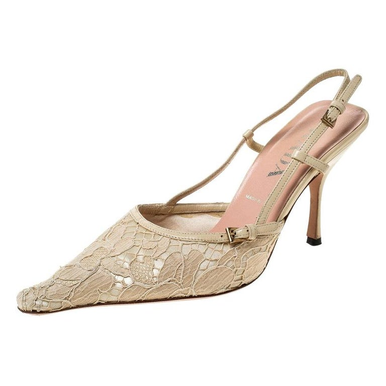 Prada Beige Lace/Satin Slingback Pointed Toe Sandals Size 36.5 For Sale