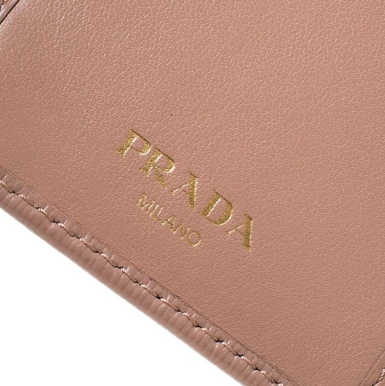 Prada Beige Leather Compact Wallet For Sale 6
