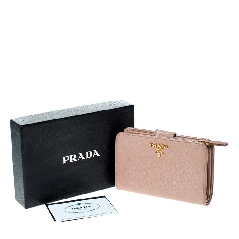 Prada Beige Leather Compact Wallet For Sale 7