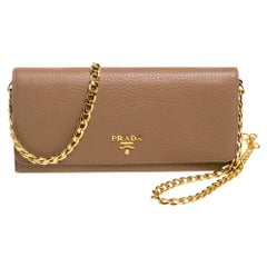 Prada Beige Leather Flap Wallet On Chain