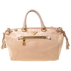 Prada Beige Leather Front Pocket Vitello Daino Tote
