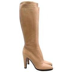 Prada Beige Leather Heeled Knee-Length Boots US9