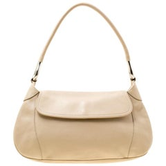 Prada Beige Leather Shoulder Bag