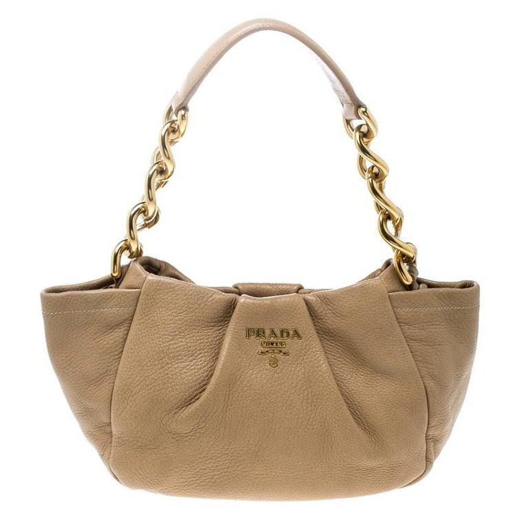 c281d99202ca Prada Beige Leather Shoulder Bag For Sale at 1stdibs