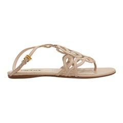 Prada Beige Leather Thong Sandals