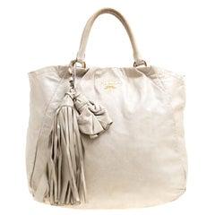 Prada Beige Leather Top Handle Bag