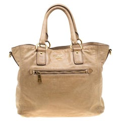 Prada Beige Leather Top Handle Bag