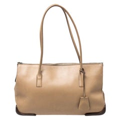 Prada Beige Leather Zipped Tote