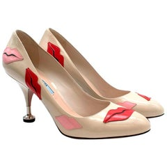 Prada Beige Lips Applique Kitten Pin Heel Pumps - Size 39