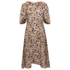 Prada Beige & Multicolor Silk Printed Midi Dress