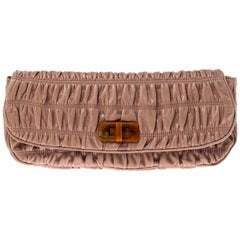 Prada Beige Nappa Gaufre Leather Clutch