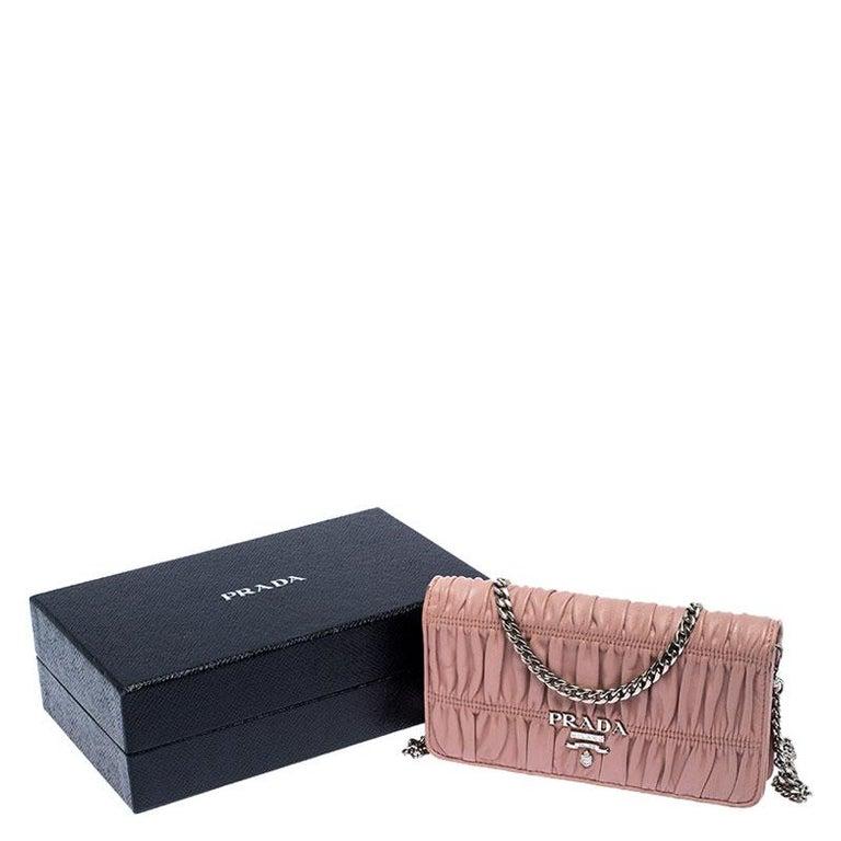 Prada Beige Nappa Leather Mini Bandoliera Wallet On Chain For Sale 7