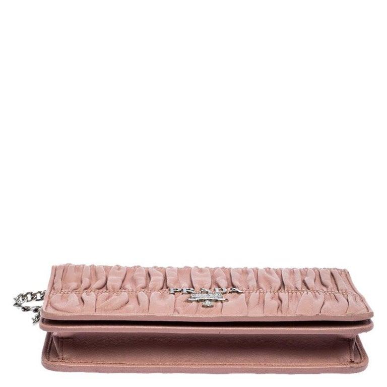 Women's Prada Beige Nappa Leather Mini Bandoliera Wallet On Chain For Sale