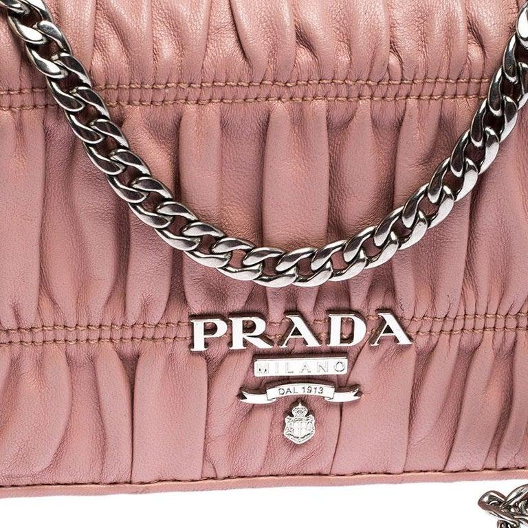 Prada Beige Nappa Leather Mini Bandoliera Wallet On Chain For Sale 1